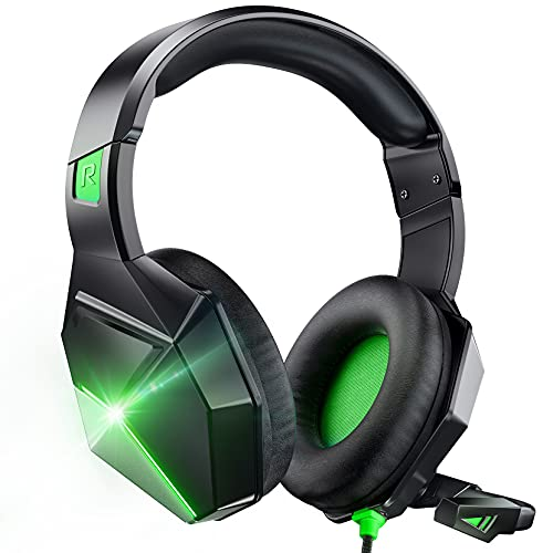 Gaming Headset Xbox One Headset with 7.1 Surround Sound Stereo, PS4 Headset with Noise Canceling Mic & LED Light, Compatible with PC, PS4, Xbox One Controller(Adapter Needed), Nintendo Switch