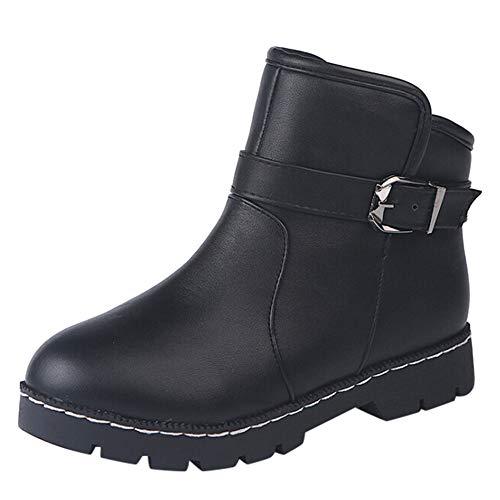 Oyedens Stivali Scarpe Donna Invernale Sportive Scarpe da Corsa Moda Sneakers Caldo Antiscivolo Outdoor Women Leather Round Toe Shoes Square Heels BuckleStrap Short Plush Ankle Boots Natale