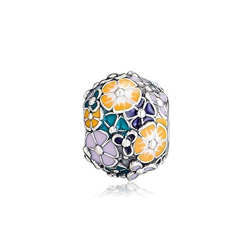 LIIHVYI Pandora Charms para Mujeres Cuentas Plata De Ley 925 Joyería De Ramo De Flores Compatible con Pulseras Europeos Collars