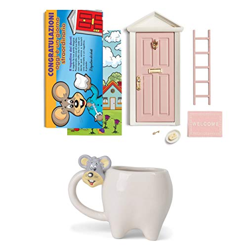 LA PUERTA MÁGICA Puerta mágica del Mickey de los dientes + taza con forma de diente + tarjeta de felicitación (versión italiana) (rosa)
