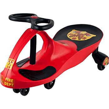Firetruck Wiggle Car Ride On Toy – No Batteries Gears or Pedals – Twist Swivel Go – Outdoor Ride Ons for Kids 3 Years and Up by Lil' Rider  Red