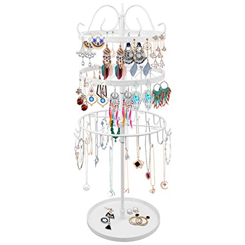VASZOLA 3 Tiers Rotating Jewelry Tower Necklace Hanger Organizer Stand, Metal Earring Rack Holder Vintage Bracelet Display Stand, 23 Hooks and 88 Holes Jewelry Tree - 18x6.3 Inch (White)