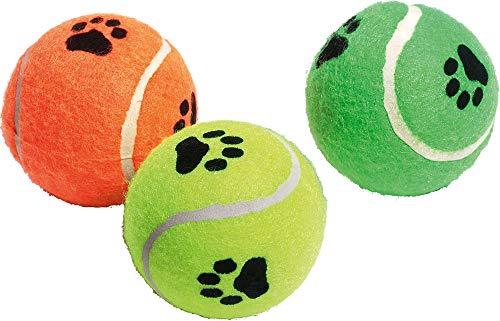 Flamingo Tennisball mit Squeaker Farblich Sortiert, 3-er Set