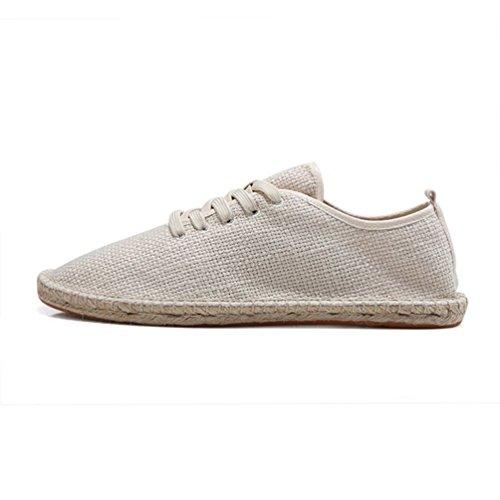 Chaussure de Ville Plate en Lin Souple Respirant pour...