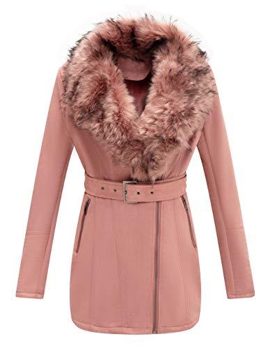 Bellivera Women's Faux Suede Leather Long Jacket, Wonderfully Parka Coat with Detachable Faux Fur Collar 7922 Pink M