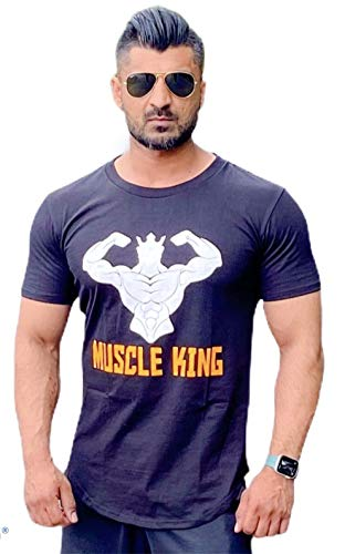 Muscle King Gym mens clothes for gym | bodybuilding clothing for men | t shirts, running tops for men, gym top for men-muscle fit t shirt for men (MK-BLACK, XL)