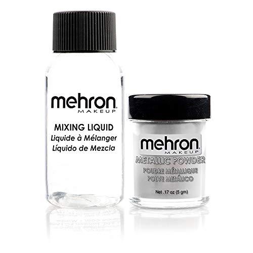 Mehron Makeup Metallic Powder (.17 oz) with Mixing Liquid (1 oz) (Silver)