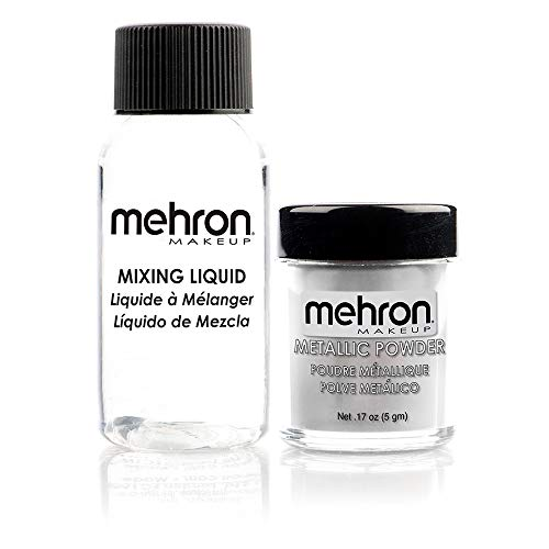 Mehron Makeup Metallic Powder (.17 oz) with Mixing Liquid (1 oz) (Silver)