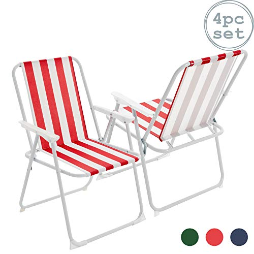 Harbour Housewares Folding Portable Beach/Camping Deck Chair - Red Stripe - Pack of 4