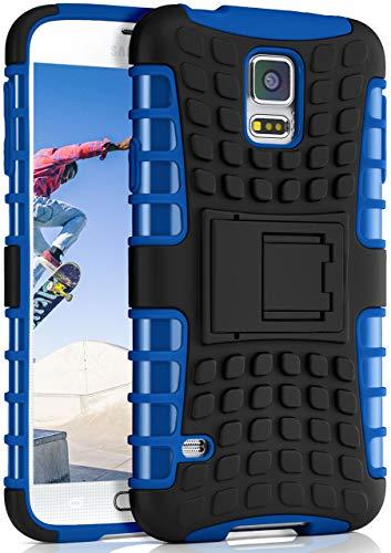 ONEFLOW Tank Hülle kompatibel mit Samsung Galaxy S5 / S5 Neo - Hülle Outdoor stoßfest, Handyhülle mit Ständer, Handy Hardcase Panzerhülle, Blau