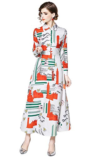 Womens Baroque & Floral Print Button up Casual A-line Party Midi Tea Dress White/Orange