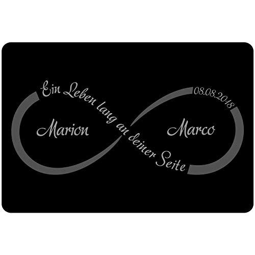 Geschenke 24 Fußmatte - Unendlichkeit mit Personalisierung in Grau - persönlicher Vorleger als Hochzeitsgeschenk für Brautpaar – personalisiert mit Namen und Datum zum Hochzeitstag l Jahrestag