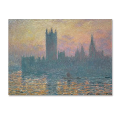 The Houses of Parliament, Sunset Artwork by Claude Monet, 18 by 24-Inch Canvas Wall