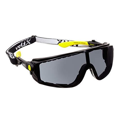 voltX 'QUAD' 4 in 1, FULL LENS Leesinzet Veiligheidsbril (ROOKKLEURIG/GRIJS LENS), met Inzet in Schuim, Afneembare Hoofdband, CE EN166f Gecertificeerd