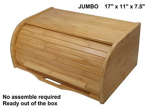 Large bread box bread basket wooden box storage boxes kitchen counter organizer wooden storage box bread storage. roll top breadbox. bread boxes for kitchen countertop. Bamboo wooden boxes. (Natural)
