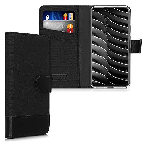 kwmobile Hülle kompatibel mit Google Pixel 5 - Kunstleder Wallet Hülle mit Kartenfächern Stand in Anthrazit Schwarz