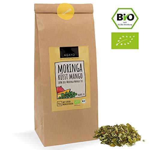 AQAYO Moringa küsst Mango | 100{a1d9e416dd2781ae77b519cf7b1965c33a2a93e3af641bf103f671243ba5eb49} Bio-Moringa Mango Tee | Getrocknete Moringablätter mit echten Mangostücken (90g Teemischung)