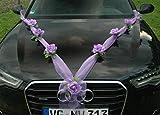 Organza M Auto Joyas Novia par Rose Decoración Organza M Boda Coche Wedding Deko (Lila/púrpura)