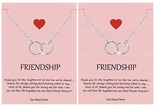 Your Always Charm Double Circle Knot Necklace,Two Interlocking Infinity Circles Gift for Best Friend (A:2 Silver Necklace)