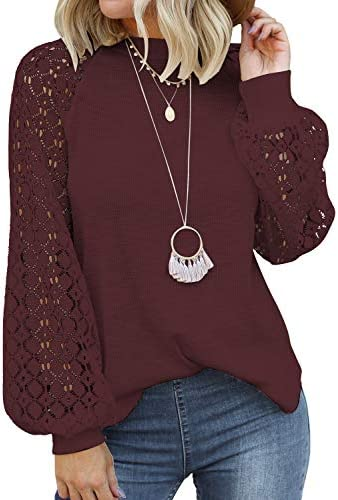 MIHOLL Ladies Tops Lace Puff Sleeve Casual Loose Blouses T Shirts Wine Red Medium product image