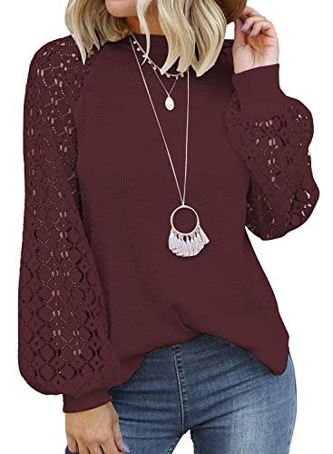 MIHOLL Women's Long Sleeve Tops Lace Casual Loose Blouses T Shirts (Wine Red, Small)