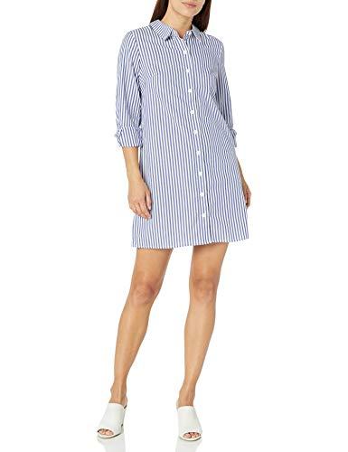 MSK Women's Petite Long Sleeves Button Front Stripe Dress, Navy/White, PM