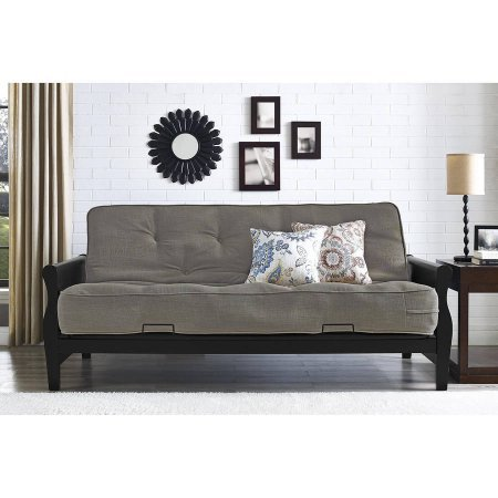"""Better Homes and Gardens 3202098 Solid Wood Arm Futon with 8"""" Coil Mattress, Converts to a Full Size Sleeper, Gray Linen Color"""