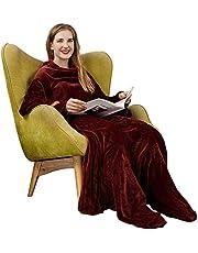 Winthome着る毛布 足・袖付き毛布 メンズ レディース 着るブランケット ガウン 部屋着 夜着毛布 丸洗い つろぎ毛布 ツヤツヤな手触り 冷え対策 防寒 保温 着丈190cm