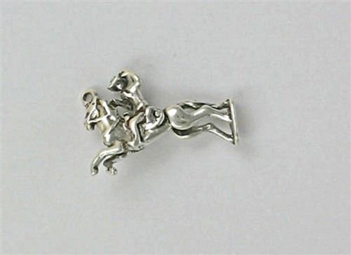 Sterling Silver 3-D Movable Bronco Rider Charm - Jewelry Accessories Key Chain Bracelet Necklace Pendants