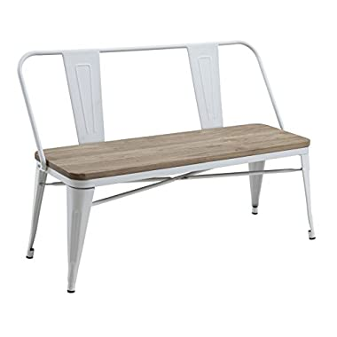 HOMES: Inside + Out IDF-3529WH-BN Trevin Industrial Bench, White