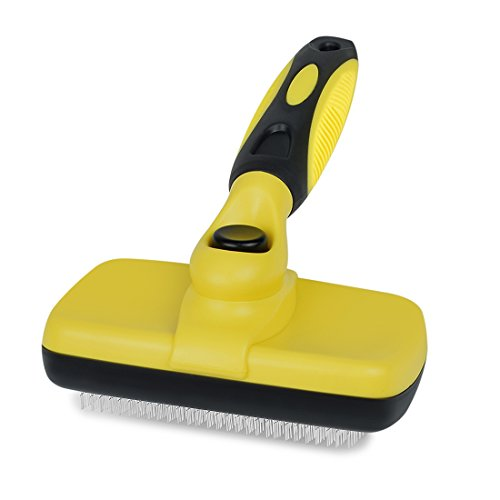 Lylyzoo Pet Grooming Brush - Self Cleaning Slicker Brushes Best Shedding Tools for Grooming Cat Dog Long & Thick Hair