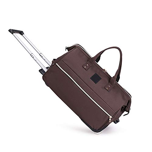 YLLHK Roller Travel Duffel Wheely Bag, Large Capacity Fashion Small Holdall Sports Bag, Foldable Weekend Roller Bag, Suitable for Outings, Business Trips and Outdoor,Brown,S