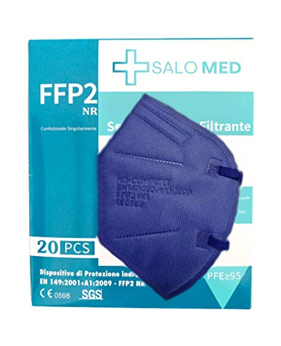 SALO MED - Mascarilla FFP2 AZUL - CE 0598 , Mascarilla de Protección Personal. 5 capas. Mascara - Alta Eficiencia Filtración, Caja 20 Unidades