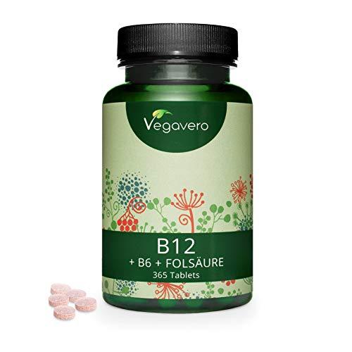 Vitamina B12 Vegana Vegavero® 1000 mcg | Para 1 Año: 365 Comprimidos | SIN ADITIVOS | Con B6 (Piridoxina) + Ácido Fólico (Vitamina B9) | Energía + Cansancio + Anemia* | Metilcobalamina