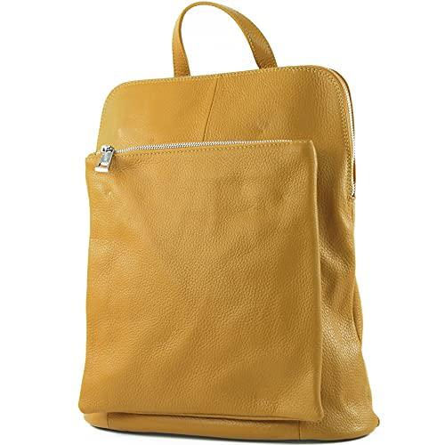 modamoda de - señoras italianas mochila bolsa de cuero T141 3en1, Color:amarillo mostaza