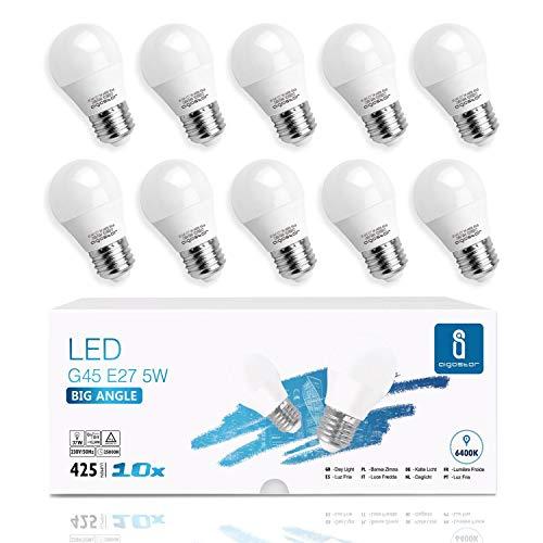 Aigostar -10 x E27 Bombilla LED G45, Casquillo gordo 5W, Bajo consumo, Luz Fría 6400K, 425 lm, Ahorro de energía, CRI 80, ángulo de apertura 230º, no regulable - Caja de 10 unidades
