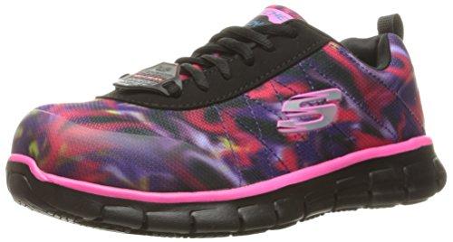 Skechers for Work Women's Synergy Arrey Shoe, Black/Pink/Multi, 9.5 M US