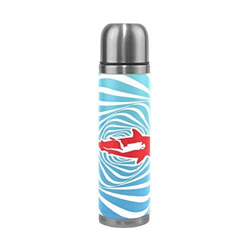 AEMAPE Botella de Agua de tiburón de Buceo de Acero Inoxidable Termo Taza de vacío con Aislamiento Cubierta de Cuero Taza de Viaje de 17 oz para niños Adultos