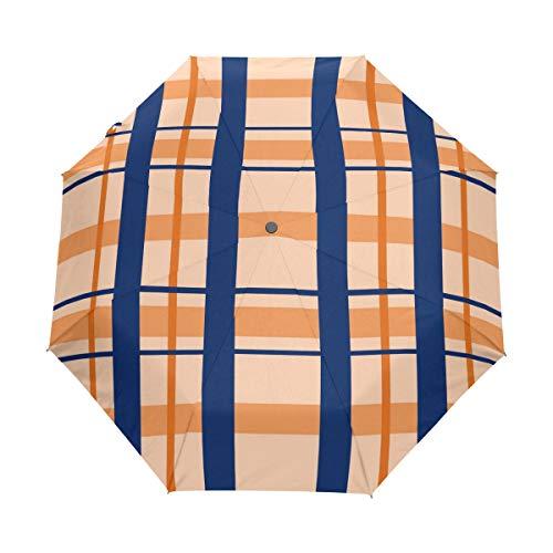 MALPLENA Malpela Regenschirm, blaues Oranger-Karo, 3-Fach faltbar, automatisch, offen, tragbar, passt für Männer/Frauen/Geschenk