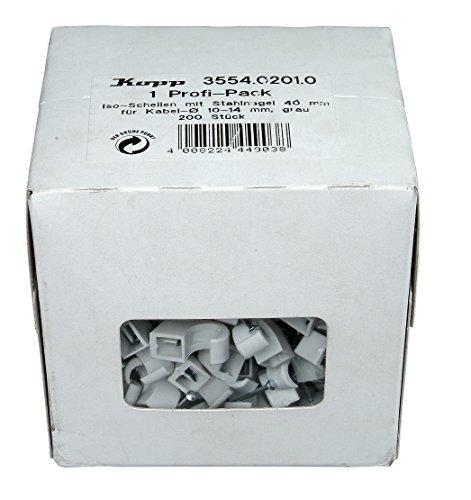 Kopp 355402010 Iso-Schellen 10-14 mm, mit gestifteten Stahlnadeln 30 mm, grau
