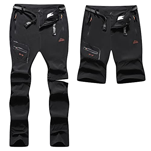 BenBoy Pantalones Trekking Trabajo Hombre Impermeables Convertible Pantalones Cortos Montaña Escalada Senderismo Transpirable Ligero Secado Rápido Pantalon Aire Libre KZ2346M-Black-S