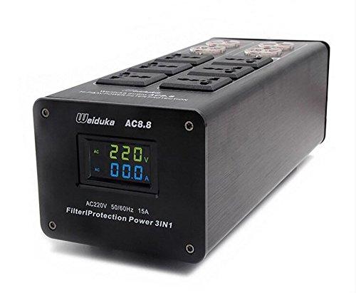 (オーディオ用) アプグレード版 Weiduka AC8.8(LED液晶モニター付)10口 高級 オーディオ専用 アドバンスト 電源タップ 3000W MAX パワーフィルター/ライトニングプロテクション ブラック