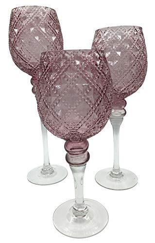 3tlg.Set Glaskelch Windlicht Kelche in Pokalform H40/35/30cm - Rosa in Rautenoptik Kerzenhalter Kerzenleuchter Kerzenständer