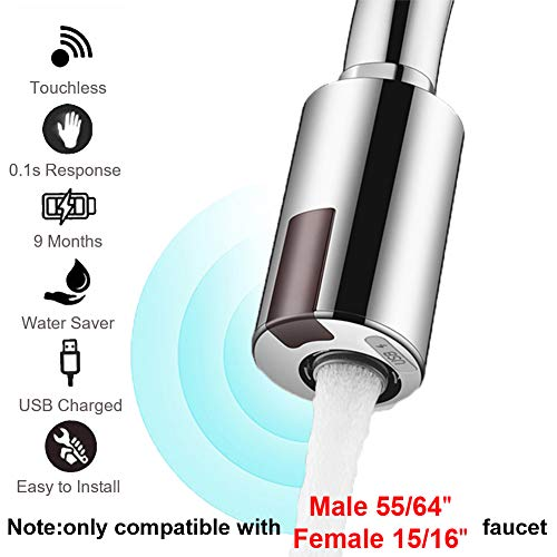 Smart Touchless Faucet Sensor for Kitchen and Bathroom, Automatic Faucet Adapter Motion...