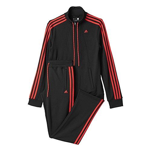 adidas Damen Trainingsanzug ESS 3S Suit, Schwarz/Rot, 2XS
