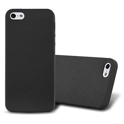 Cadorabo Custodia per Apple iPhone 5 / iPhone 5S / iPhone SE in Frost Nero - Morbida Cover Protettiva Sottile di Silicone TPU con Bordo Protezione - Ultra Slim Case Antiurto Gel Back Bumper Guscio