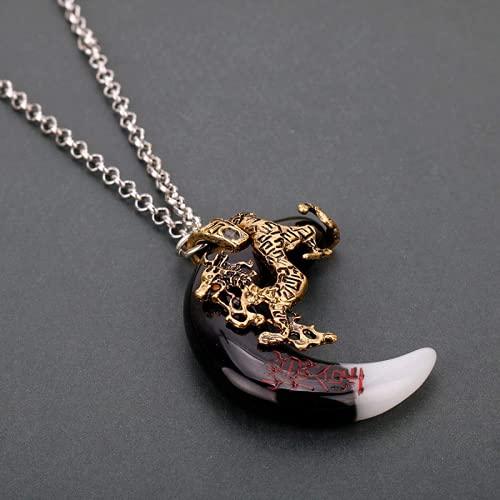Aiiwqk Tribu Antigua Bronce Tribunal Potente Amuleto Lobo Diente Colgante Colgante Vintage Wolf Dine Dragon Necklace Ornament es Hombre