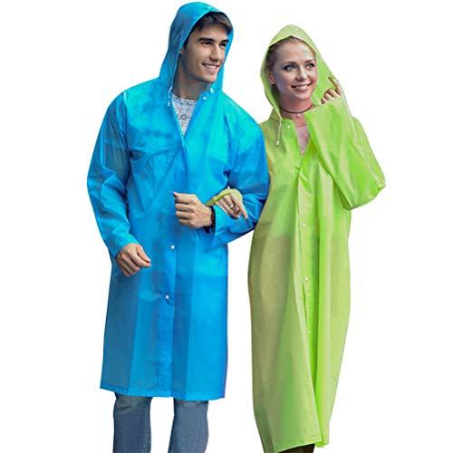 YANSHON 2 stück Regenponcho mit Kapuze, Eva Poncho Regenmantel Wasserdicht Unisex-Erwachsene wiederverwendbar Regen Wasserdicht Poncho mit Kapuze