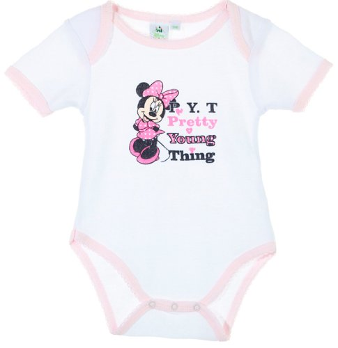 Body bébé fille manches courtes Minnie 'Pretty young thing' Blanc/rose clair 23mois