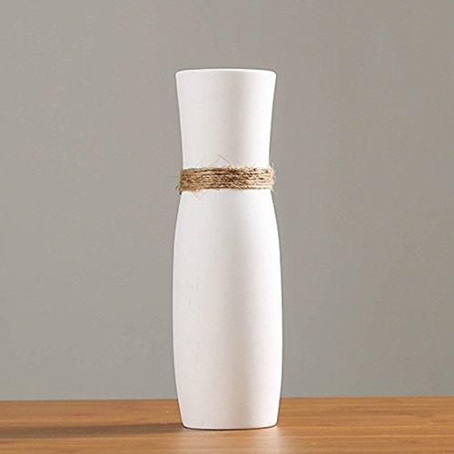 Vases en céramique Blanche, Vase Moderne Design Unique Corde pour la Maison Décor Salon Bureau Cuisine Table Ornement
